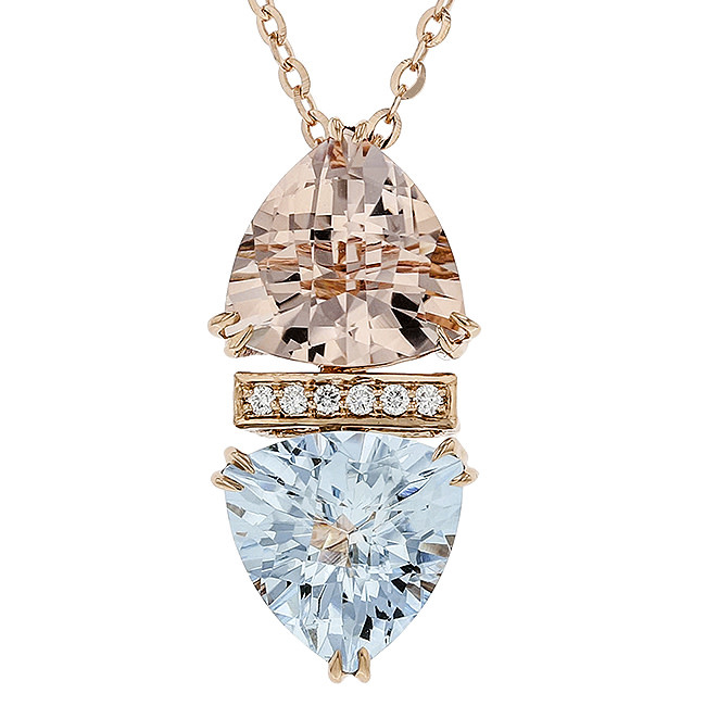 BELLARRI 14K RG 2.95CT AQUAMARINE(DYED)/2.53CTW MORGANITE(IRR)/0.03CTW DIAMOND ENHANCER