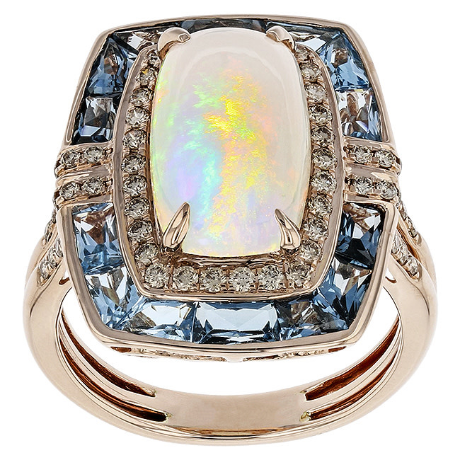 BELLARRI 14K RG 2.48CT OPAL(GLAZED)/2.80CTW SWISS BL TOP(IRR)/0.45CTW DIAMOND RING