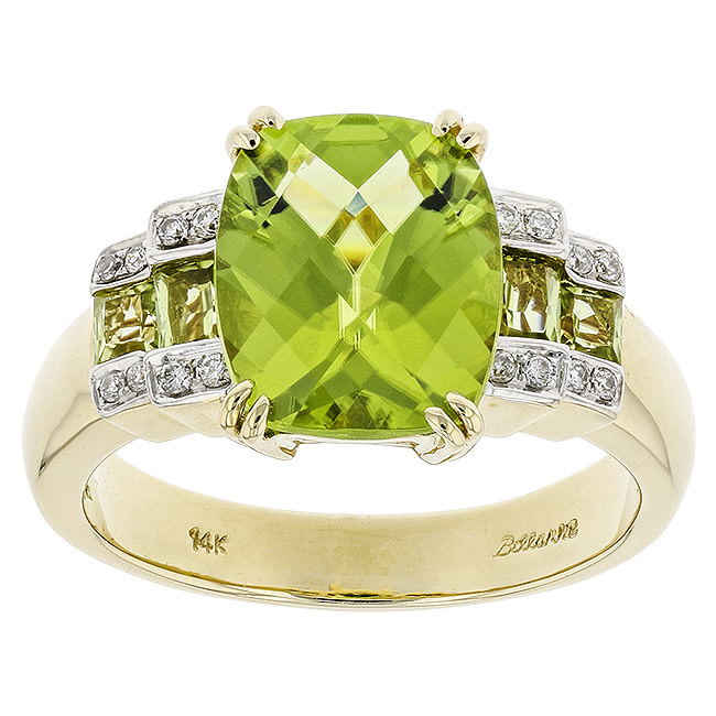 BELLARRI 14K YG 4.47CTW PERIDOT/0.08CTW DIAMOND RING