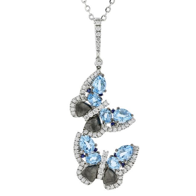 BELLARRI 14K WG 2.19CTW BLUE TOPAZ(IRR)/0.47CTW DIAMOND PENDANT