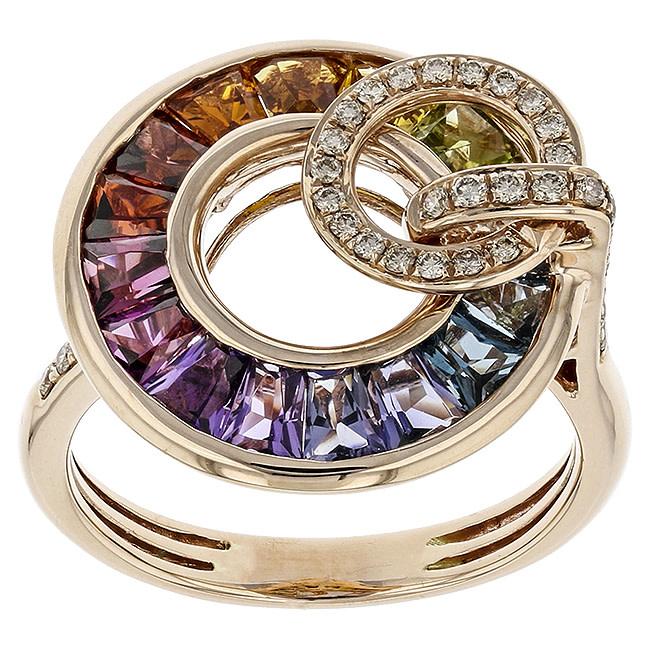 BELLARRI 14K RG 3.20CTW BL TOP(IRR)/CIT,AMY(HE)/RHODOLITE,PERIDOT/0.20CTW DIAMOND RING