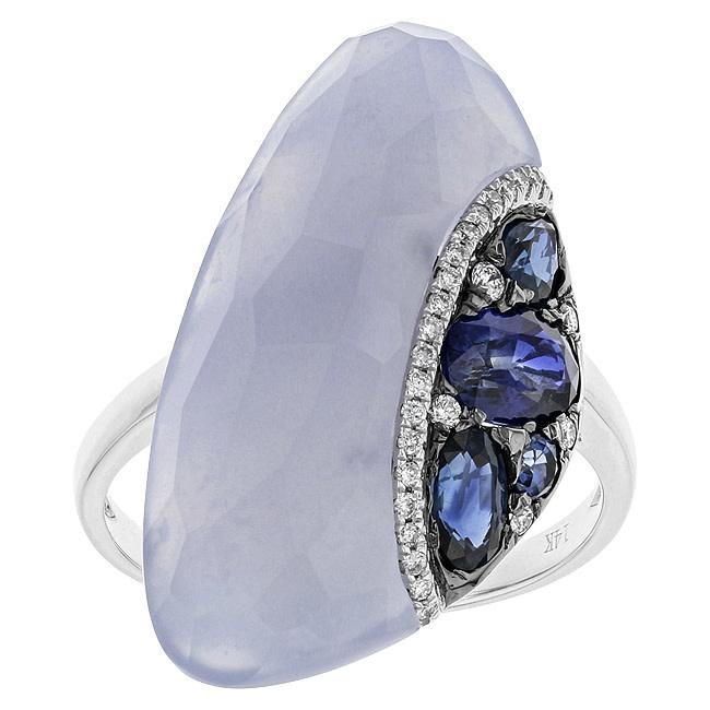 BELLARRI 14K WG  10.09CT CHALCEDONY(STBL)/1.17CTW SAPPHIRE(HE)/0.10CTW DIAMOND RING