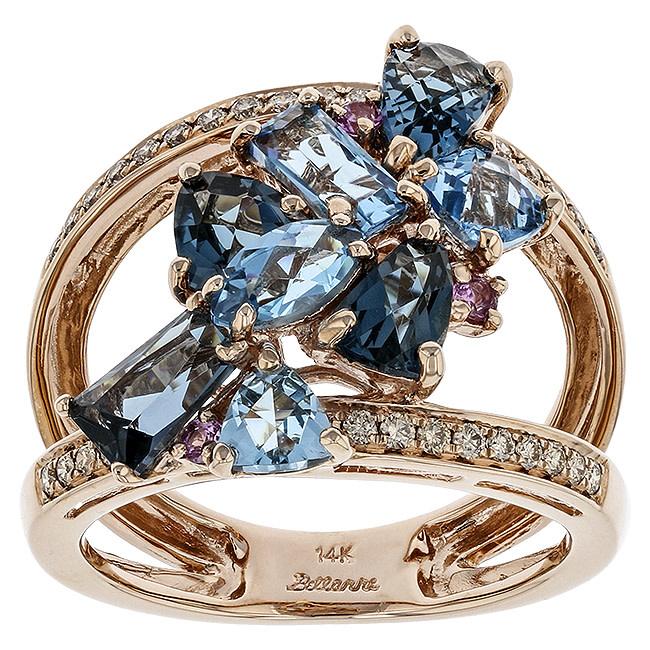 BELLARRI 14K RG 3.55CTW BLUE TOPAZ(IRR)/0.06CTW PINK SAPPHIRE(DIF)/0.24CTW DIAMOND RING