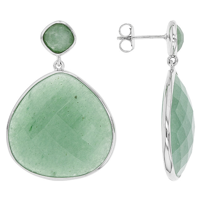 BELLARRI S/S GREEN AVENTURINE(DYED) EARRINGS