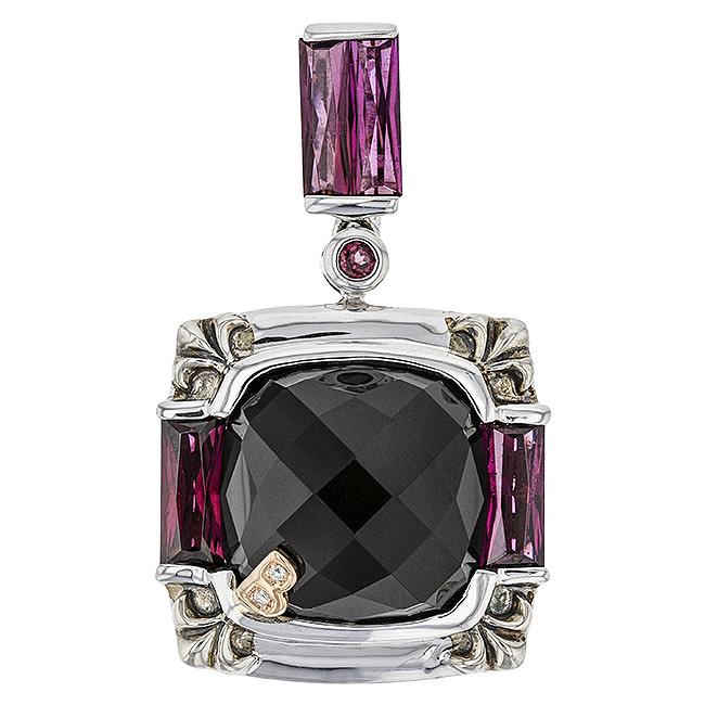 BELLARRI S/S / 18K RG 11.45CT BLACK ONY(DYED)/4.80CTW RHODOLITE/0.02CTW DIAMOND PENDANT