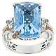 BELLARRI S/S / 18K RG 12.80CT BLUE TOPAZ(IRR)/0.09CTW DIAMOND RING