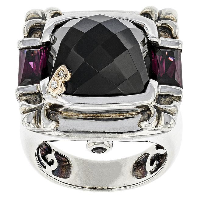 BELLARRI S/S / 18K RG 8.45CT BLACK ONYX(DYED)/2.10CTW RHODOLITE/0.01CTW DIAMOND RING