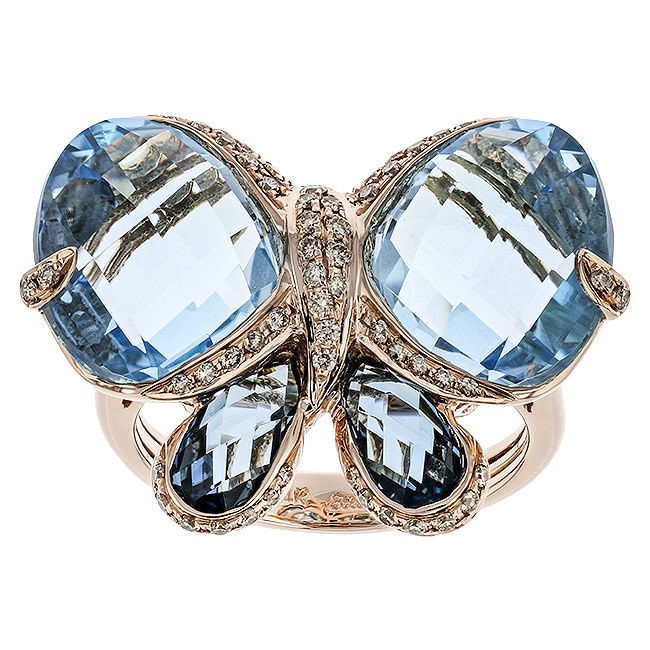 BELLARRI 14K RG 14.10CTW BLUE TOPAZ(IRR)/0.37CTW DIAMOND RING