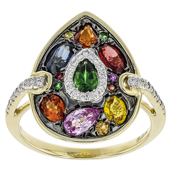 BELLARRI 14K YG 1.84CTW MULTISAPPHIRE(DIF)/0.13CTW DIAMOND RING