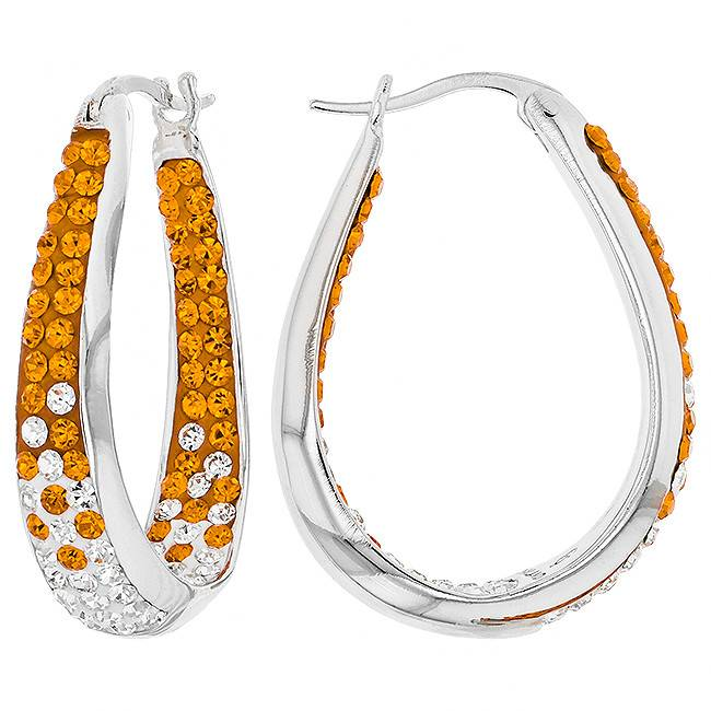 Chelsea Taylor ORANGE & CRYSTAL  LARGE HORSESHOE EARRINGS