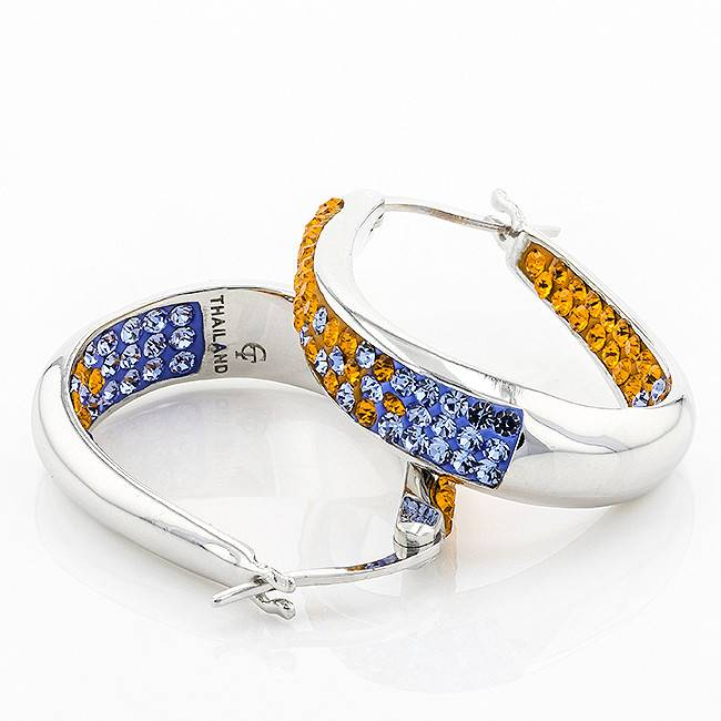 Chelsea Taylor ORANGE & LIGHT SAPPHIRE HORSESHOE EARRINGS