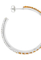 Chelsea Taylor ROUND HOOP EARRINGS ORANGE & WHITE CRYSTAL