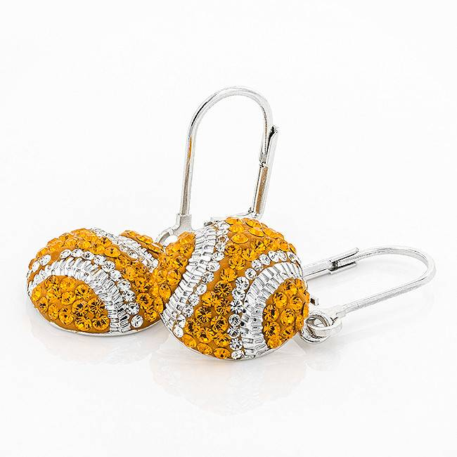 Chelsea Taylor BASEBALL DANGLE CRYSTAL EARRINGS ORANGE & WHITE