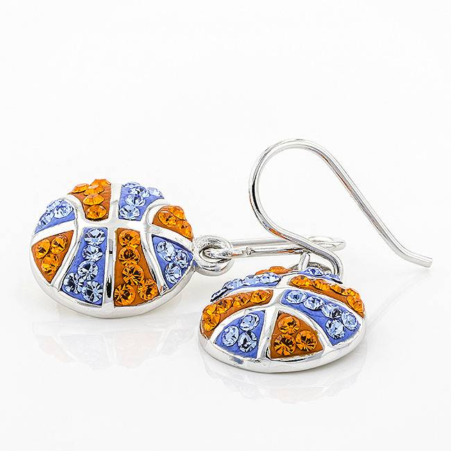 Chelsea Taylor BASKETBALL DANGLE EARRINGS ORANGE & LIGHT SAPPHIRE