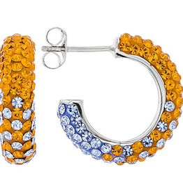 Chelsea Taylor ORANGE & LIGHT SAPPHIRE CRYSTAL SMALL HOOP EARRINGS