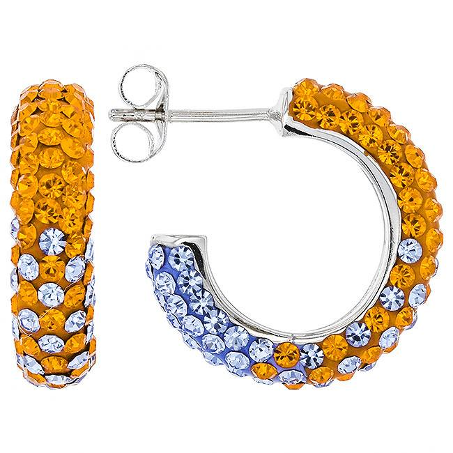 Chelsea Taylor ORANGE & LIGHT SASPPHIRE CRYSTAL SMALL HOOP EARRINGS