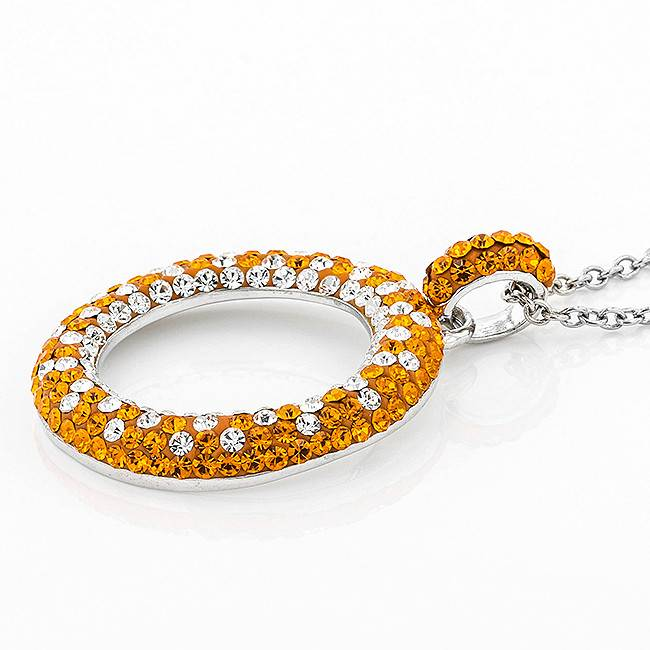 Chelsea Taylor ORANGE & CRYSTAL CIRCLE PENDANT