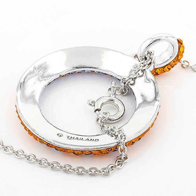 Chelsea Taylor ROUND CIRCLE PENDANT ORANGE & LIGHT SAPPHIRE