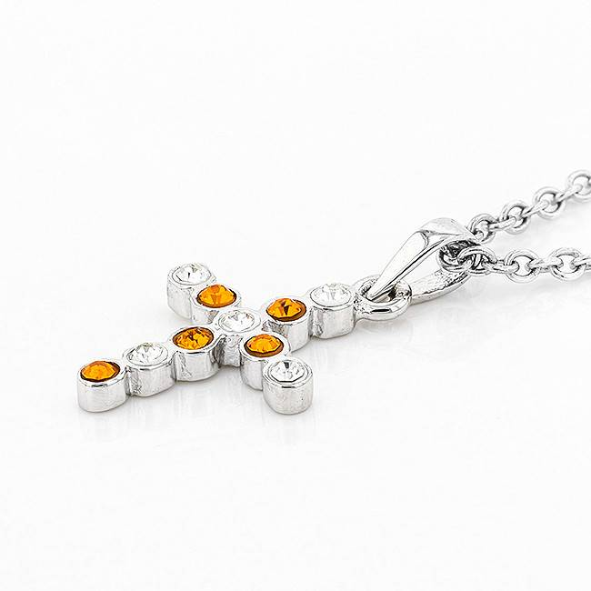 Chelsea Taylor SMALL BEZEL CROSS ORANGE & WHITE