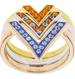 Chelsea Taylor ORANGE & LIGHT SAPPHIRE CRYSTAL CHEVRON RING
