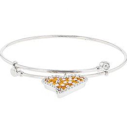 Chelsea Taylor DANGLE FLEX HEART CHARM BANGLE ORANGE & WHITE