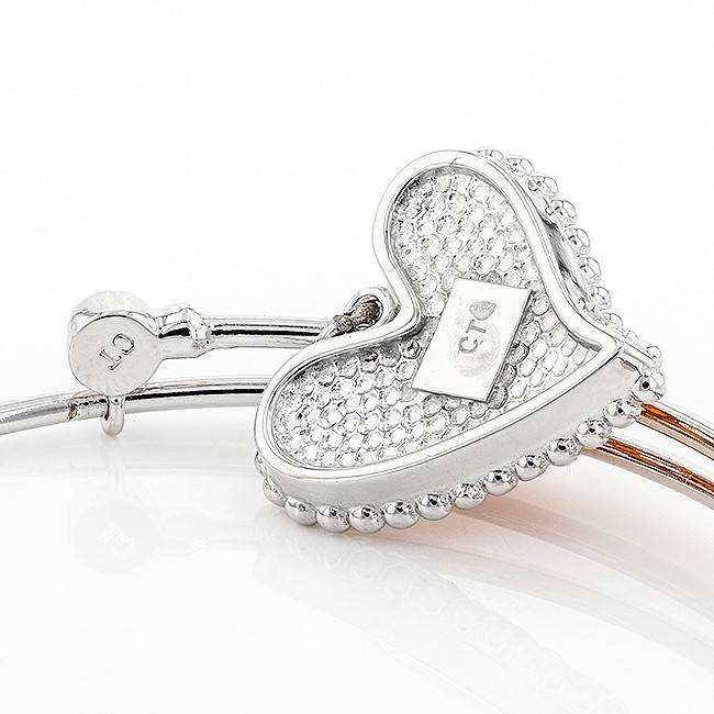 Chelsea Taylor DANGLE FLEX HEART CHARM BANGLE ORANGE & WHITE