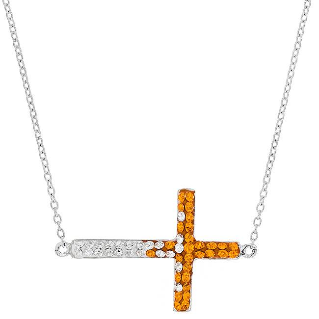Chelsea Taylor ORANGE AND WHITE EAST/WEST CROSS NECKLACE