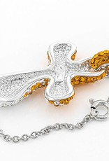 Chelsea Taylor CURVED CRYSTAL CROSS ORANGE AND WHITE
