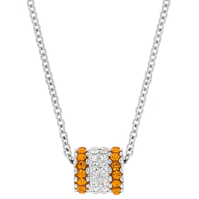 Chelsea Taylor BARREL CHARM ORANGE & WHITE PENDANT