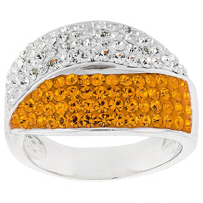 Chelsea Taylor SWIRL ORANGE & WHITE CRYSTAL RING