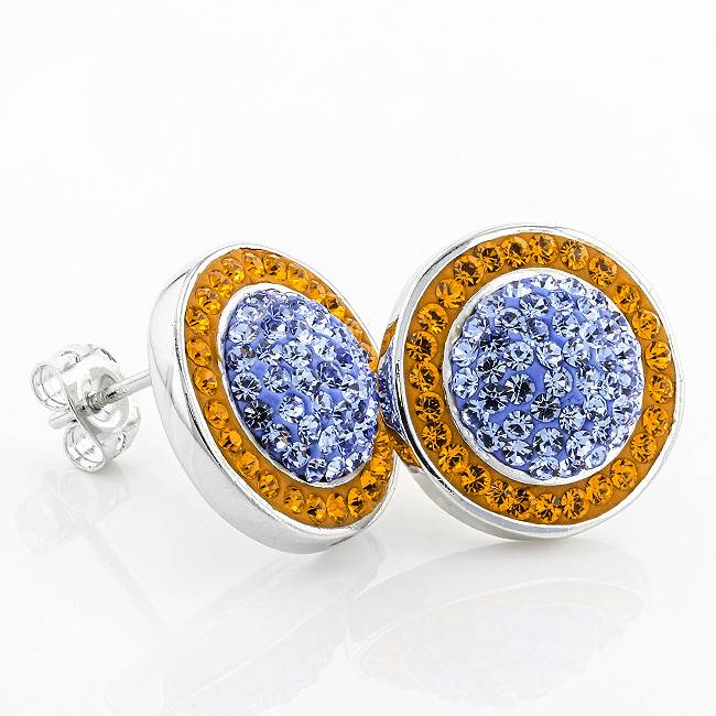 Chelsea Taylor BUTTON CIRCLE STUD ORANGE & LIGHT SAPPHIRE EARRINGS