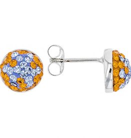 Chelsea Taylor ORANGE & LIGHT SAPPHIRE CRYSTAL STUD EARRINGS