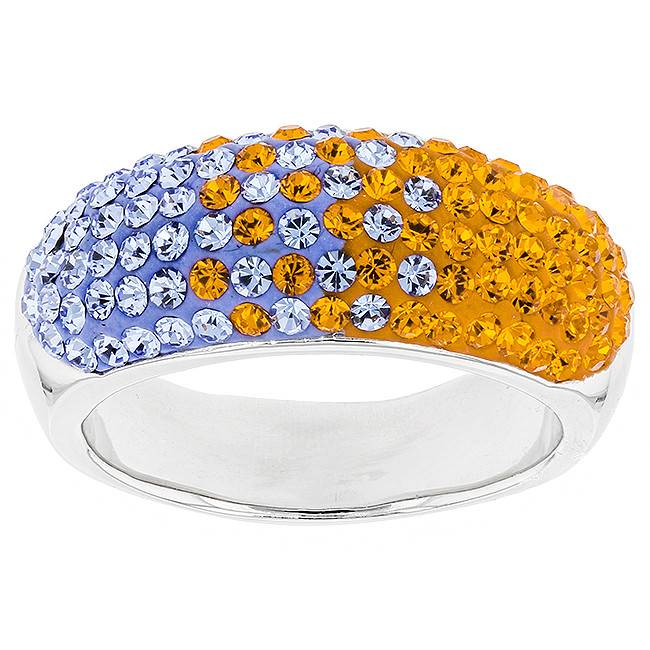 Chelsea Taylor 10MM TAPERED ORANGE & LIGHT SAPPHIRE RING