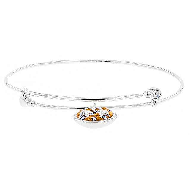 Chelsea Taylor ORANGE & LIGHT SAPPHIRE PRECIOSA CRYSTAL TN STAR BANGLE BRACELET