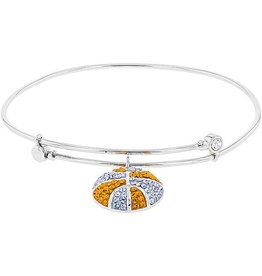 Chelsea Taylor ORANGE & LIGHT BLUE CRYSTAL BASKETBALL DANGLE BRACELET