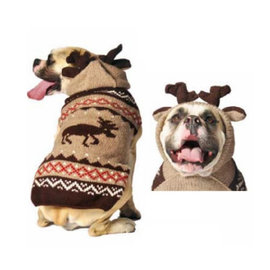 Chilly Dog Moose Hoodie & Antlers Tan