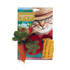 "Dharma Dog Karma Cat Wool Felt Two Pack of 3"" Veggies - Carrot, Corn & Tomato"
