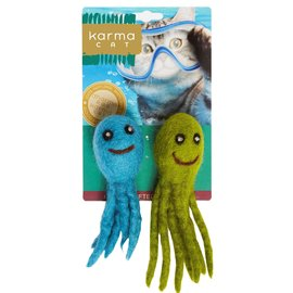 "Dharma Dog Karma Cat Wool Felt Two Pack of 3"" Octopus Multi Colour"