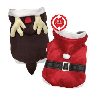 FouFou Dog Reversible Santa & Rendeer Suit