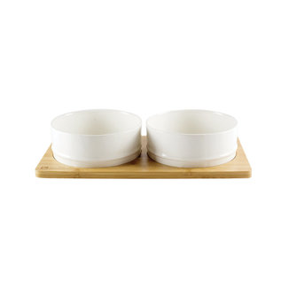 Be One Breed Bamboo & Ceramic Bowls White