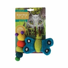 """Dharma Dog Karma Cat Wool Felt Two Pack of 3"""" Catepillar & Butterfly"""