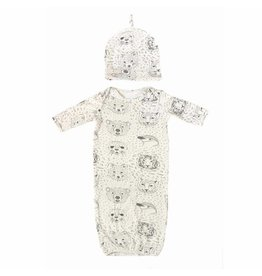 Nohi Kids Nohi Kids | Bamboo Blend Animal Portrait Gown & Hat Set