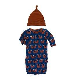 Kickee Pants Kickee Pants| Navy Fox Gown & Hat Set