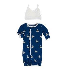 Kickee Pants Kickee Pants| Queen's Swans Gown & Hat Set