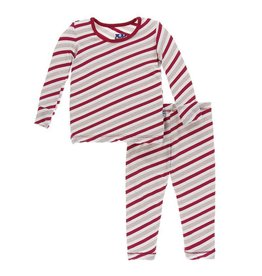 Kickee Pants Kickee Pants| Rose Gold Candy Cane Stripe Pajama Set