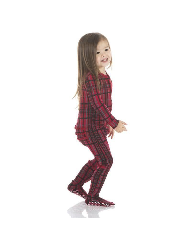 Kickee Pants Kickee Pants| Ruffle Christmas Plaid Zipper Footie