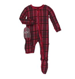 Kickee Pants Kickee Pants | Ruffle Christmas Plaid Zipper Footie