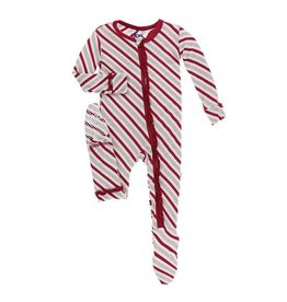 Kickee Pants Kickee Pants | Ruffle Candy Cane Stripe Zipper Footie