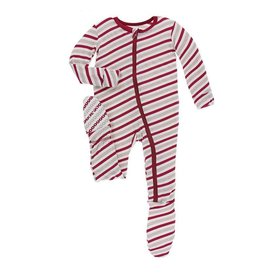 Kickee Pants Kickee Pants| Candy Cane Stripe Zipper Footie
