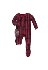 Kickee Pants Kickee Pants| Christmas Plaid Zipper Footie